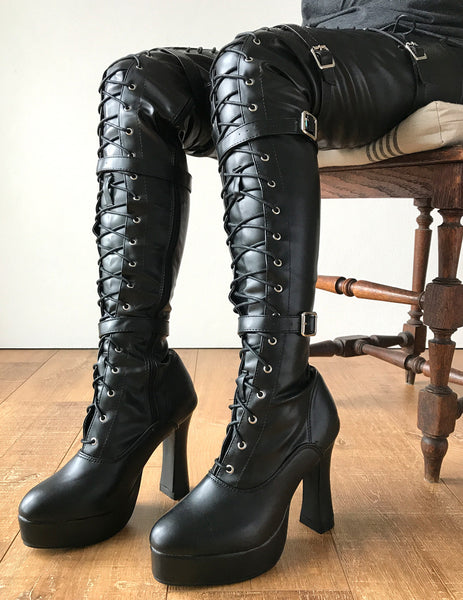 CHUK 12cm Spool Heel Platform Laceup Crotch Goth Punk Pinup Cosplay Fetish boots