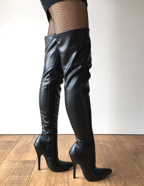 RTBU CIA 12cm Stiletto Heel Pole Dance Knee/Thigh/Crotch Boot Black Matte