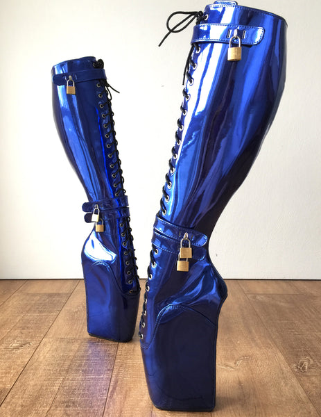 Beginner CUF Hoof Heelless Fetish Pinup Ballet Lockable Wedge Boot Metallic Blue