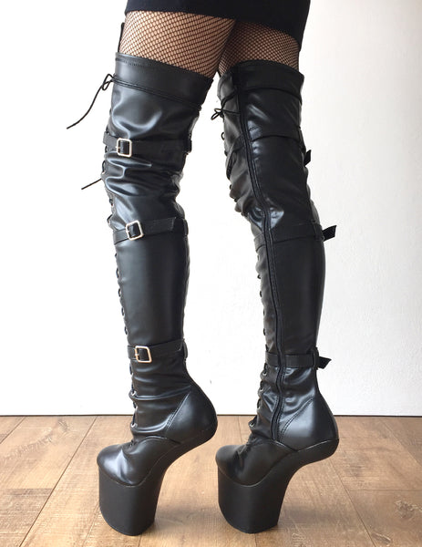 DANY 18cm Pony Hoof Sole Heelless Platform Crotch Hi Boots Fetish Black Metallic
