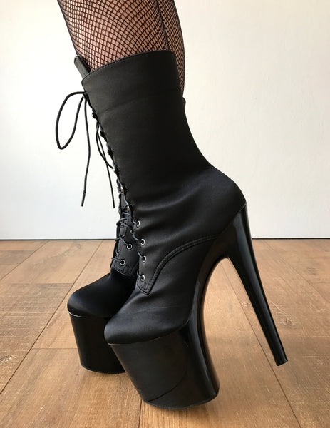 RTBU DENZEL 20cm Platform Diva Fetish Custom Calf Boot Silk Black Satin