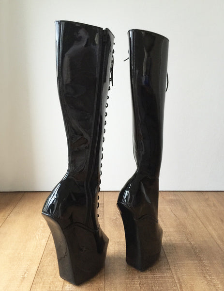 ECE Heavy Hoof Sole Horse Pony Heelless Knee Hi Fetish BDSM Boots Black Patent