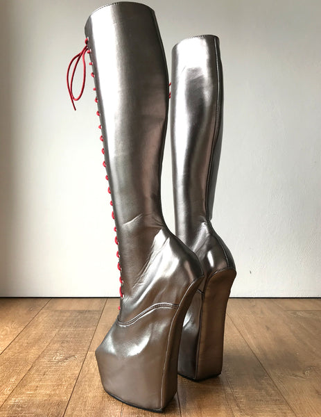 ECE Heavy Hoof Sole Horse Pony Heelless Knee Hi Fetish Role Play Champagne Boots