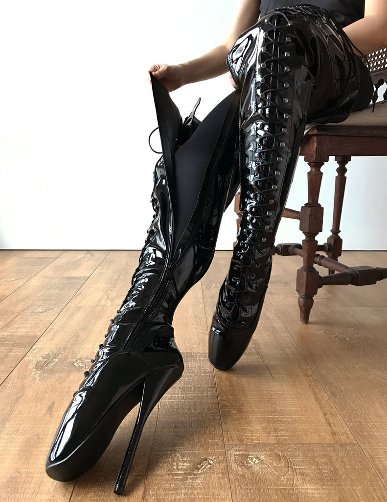 RTBU EZRA Fetish Crotch Ballet Stiletto Custom Order Black Patent
