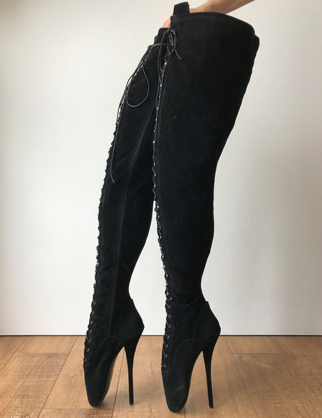 RTBU EZRA Fetish 70cm Crotch Ballet Stiletto Custom Order Black Suede