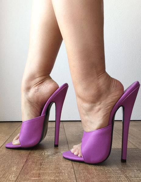 18MULE 18cm Hi Heel Stiletto Mistress  Fetish Slipper Slides Mule Lilac Purple