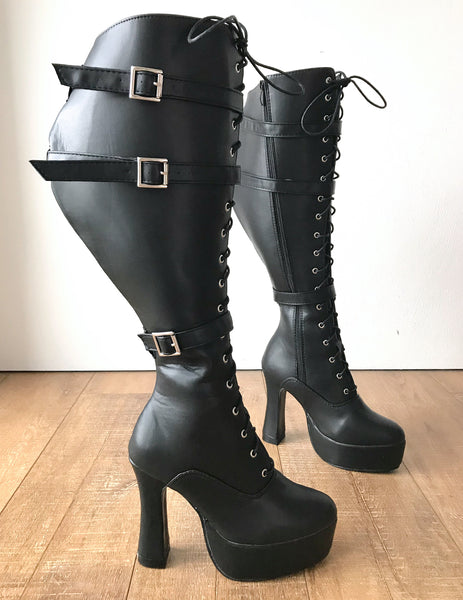 RTBU GENTS Lace Up Zip Straps 12cm Spool Fetish Boots Black Matte