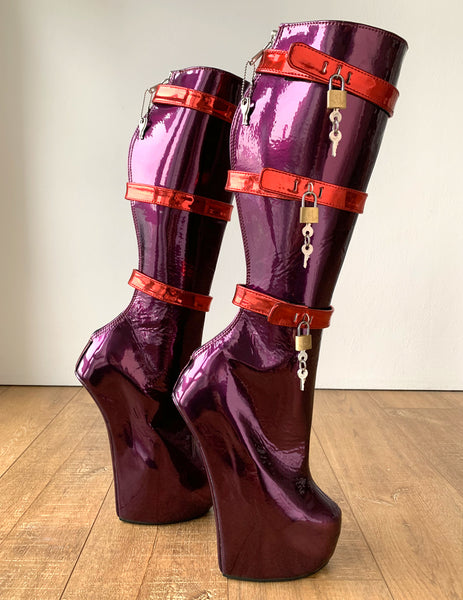 RTBU HOOK Heavy Hoof Heelless Knee Pony Stallion Lock Metal Zip Purple Metallic