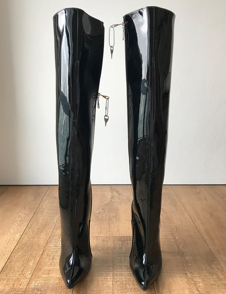 RTBU HYDE Hard Shaft Knee Hi 18cm Locking YKK Stiletto Boot Black Patent