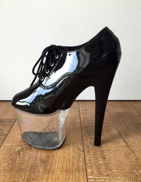 ICEDIP 20cm Clear See Through Platform w/ Half Opaque heel Fetish Drag Queen