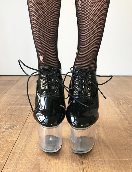 ICE 20cm Oxford Clear See Through Platform Heel Booties Fetish Drag Queen