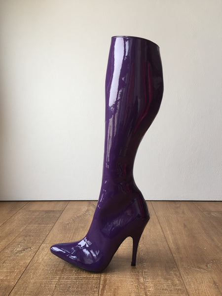 RTBU KIKA Hard Shaft Knee Boots 12cm Stiletto Vegan Personalized Shaft Purple