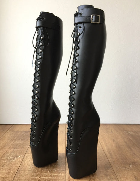 RTBU JASON Ballet Wedge Laceup Knee Hi Boots Hoof Strap Fetish Dominatrix Black Patent
