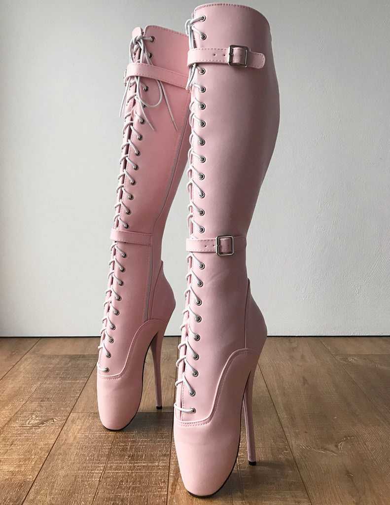 RTBU JESSICA Lace Up Strap Knee Hi Ballet Stiletto Fetish Pain Boots Piggy Pink Matte