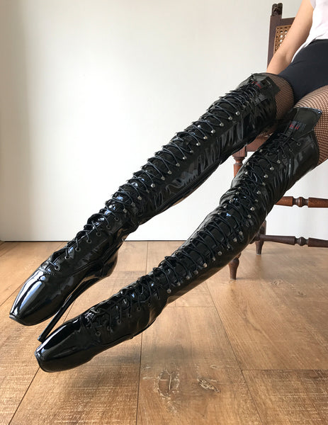 RTBU EZRA 60cm Fetish Corset Dominatrix Knee/Thigh/Crotch Boot Black Patent