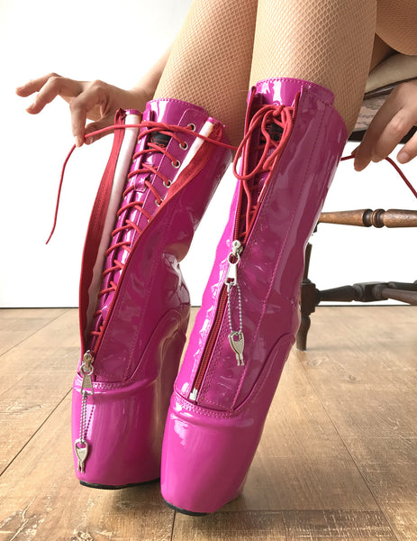 KEEP Calf Hi Ballet Wedge YKK Zip Lockable Heelless Fetish Pinup RTBU Hot Pink