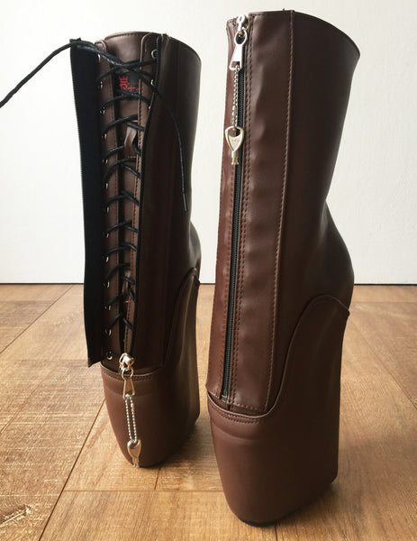 RTBU KEEP Calf Ballet Wedge Boot YKK Zip Lockable Hoof Heelless Pinup Brown Matte
