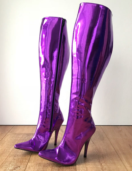RTBU KIKA Hard Shaft Knee Boots 12cm Stiletto Vegan Personalized Shaft Purple Metallic