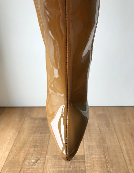 RTBU KIKA Hard Shaft Knee Boots 12cm Stiletto Vegan Personalized Shaft Camel Patent