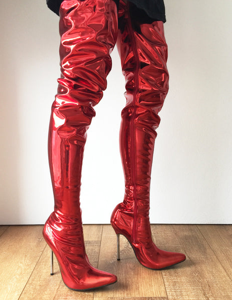 LETHAL 12cm Silver Metal Heel 80cm Crotch Show Boot Metallic Red Fire Customize