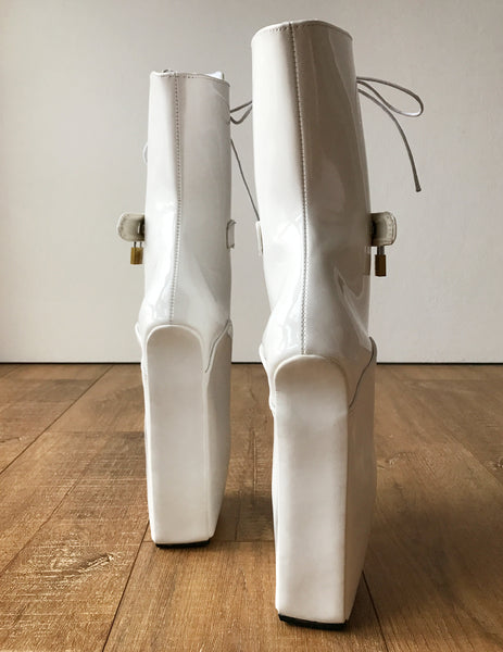 18cm LOCKY Beginner Lockable Ballet Wedge Boots Hoof Heelless Fetish Pinup White Patent