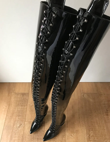 RTBU LULU Crotch Hi Hard Shaft Laceup 18cm Stiletto Boots Black Patent