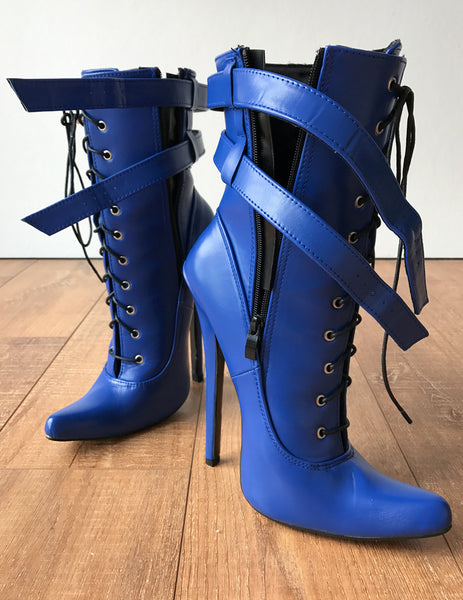 MAID'S (w/ Zip) 18cm Stiletto Fetish Boot Double Wrap Buckle Strap Matte Blue