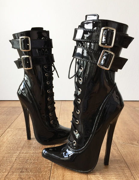 MAID'S II 18cm Stiletto Fetish Boots 2 Wrap Buckle Strap Patent Black
