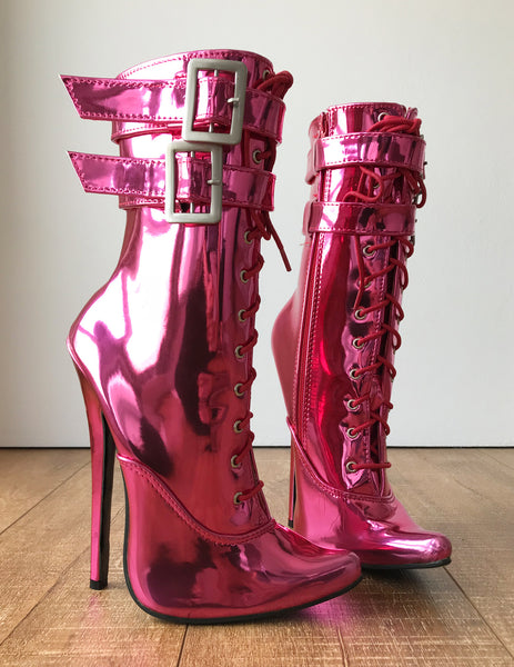 MAID'S (w/ Zip) 18cm Stiletto Fetish Boot Double Wrap Buckle Strap Pink Metallic