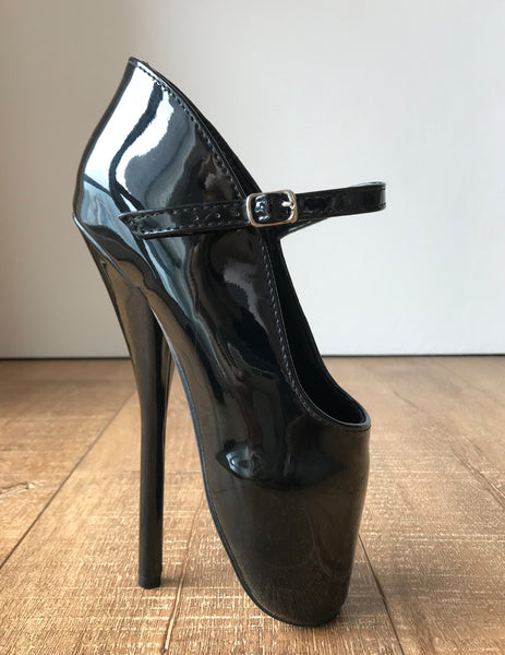 RTBU Mariah Burlesque strap Mary Janes Fetish Ballet Pump stiletto Black Patent