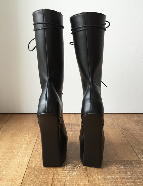 MYLI Heavy Hoof Sole Heelless Mid-Calf Boots Custom Made to Order Black Matte