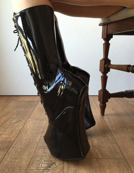 MYLI Heavy Hoof Sole Heelless Mid-Calf Boots Custom Made to Order Black Patent