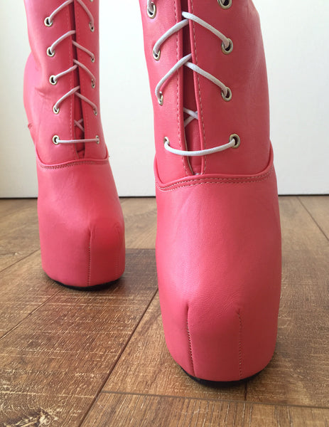 MYLI Heavy Hoof Sole Heelless Mid-Calf Boots Custom Made to Order Eraser Pink