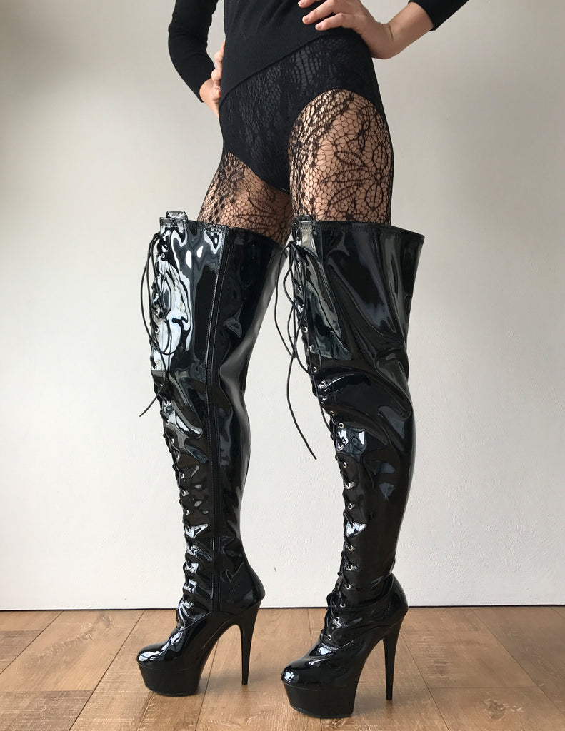 Fetish platform thigh boots