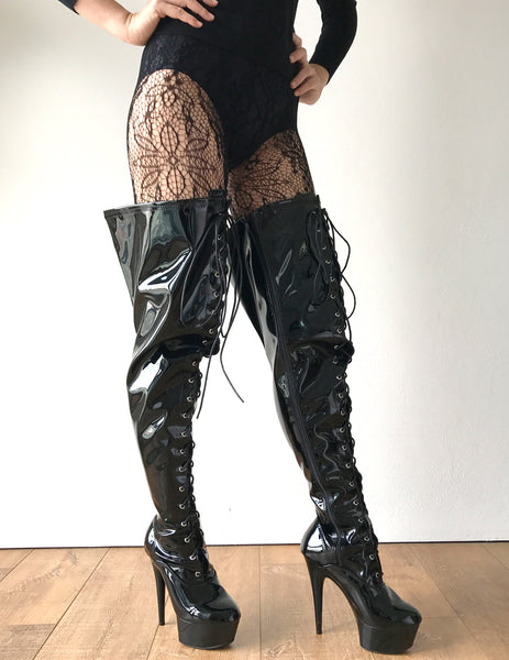 15cm Platform NIGEL 60cm Mid-Thigh Laceup Goth Punk Cosplay Fetish Boots Patent