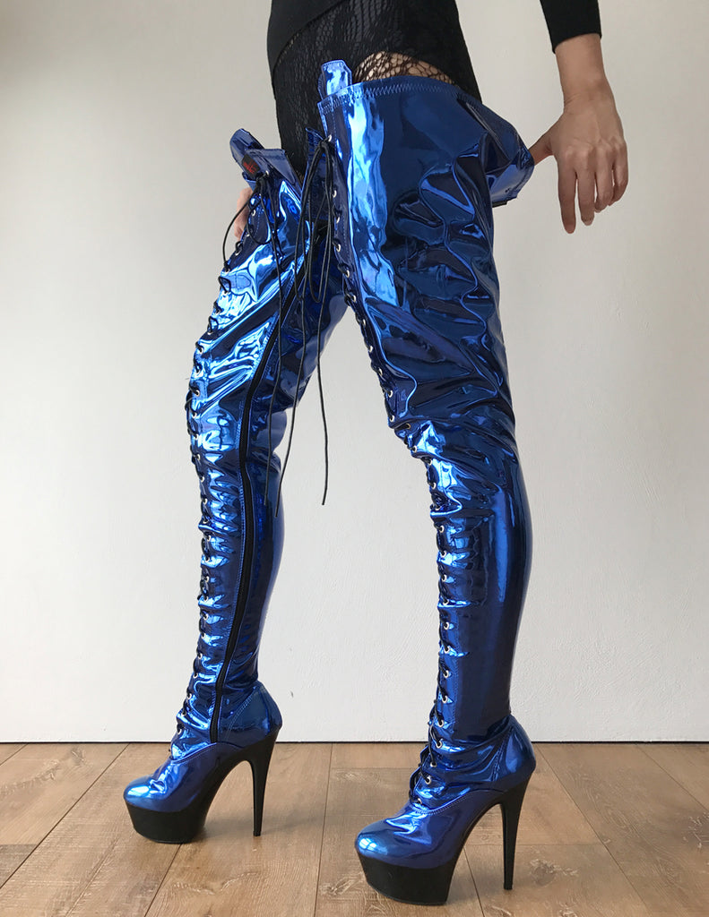 RTBU PERKINS 15cm Platform Crotch Burlesque eel LaceUp Zip Blue Metallic