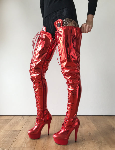 RTBU PERKINS 15cm Platform Crotch Burlesque eel LaceUp Zip Red Metallic