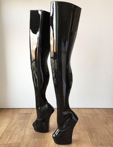 RTBU PHANTOM Hard Shaft Hoof Crotch High Wedge Platform Fetish Heelless Boots