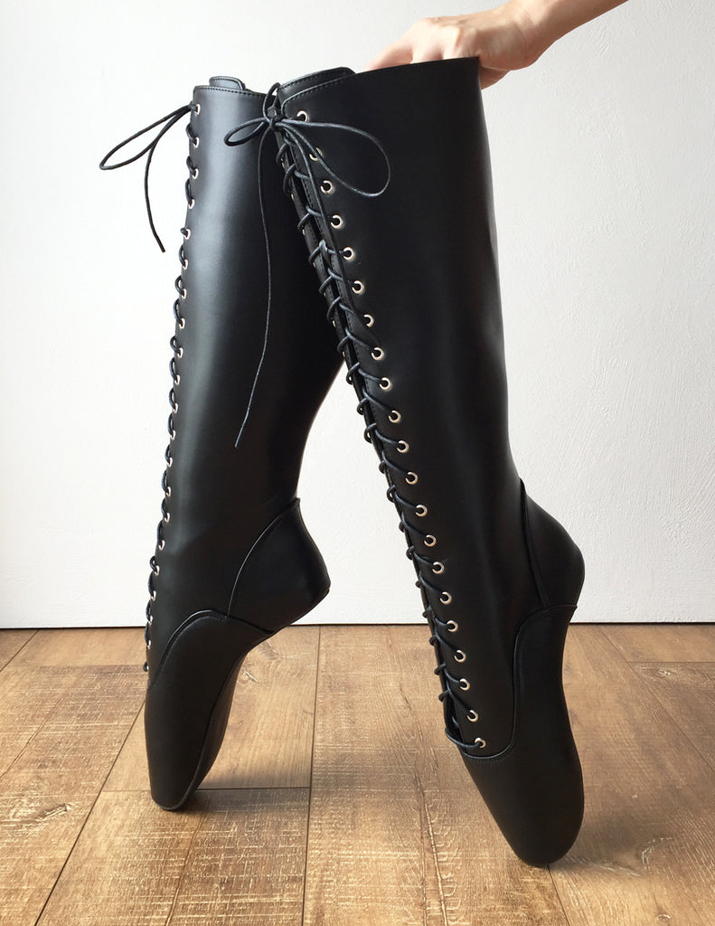 fashion fashion style recognized brands POINTE (No Zip) Heelless Lace Up Knee High Ballet Fetish Pain ...