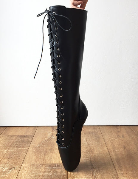 POINTE (No Zip) Heelless Lace Up Knee High Ballet Fetish Pain Boots Black Matte