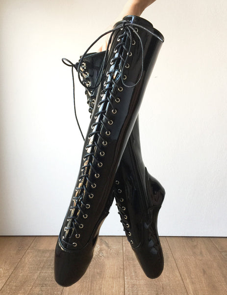 POINTE (w/ Zip) Heelless Lace Up Knee High Ballet Fetish Pain Boots Black Patent