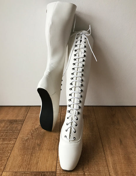 POINTE (w/ Zip) Heelless Lace Up Knee High Ballet Fetish Pain Boots White Matte