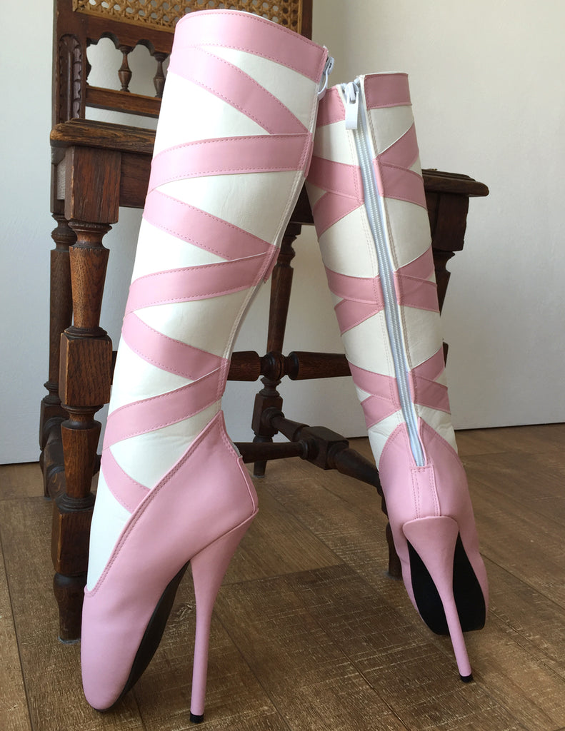 RTBU RIBBON Ballet Stiletto Pointe Boots Zipper White Pink Matte
