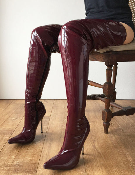 LETHAL 12cm Weapon Silver Metal Stiletto Heel Crotch Hi Show Boot Patent Shiny PVC Raisin Wine