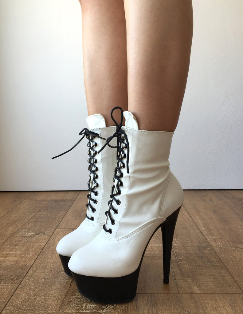 15cm BABE Ankle Platform Laceup Zip Bootie Punk Cosplay Patent White Custom Color