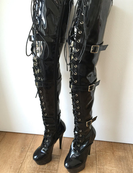 15cm Platform OSSY Laceup 60cm Mid-Thigh Goth Punk Cosplay Patent Fetish boots