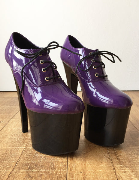 20cm Extreme Platform Heel Fetish Patent Dark Purple PVC Oxford Ankle Bootie