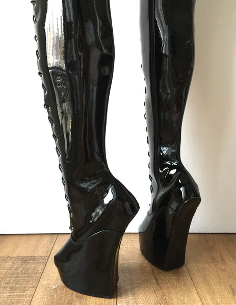 PONY 85cm Hard Shaft Hoof Sole Wedge Platform Fetish Heelless Lace-up Horse Boot