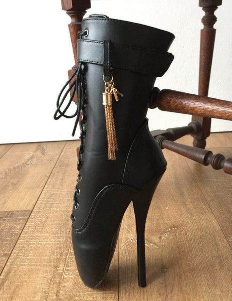 18cm Fetish Ballet Calf Hi Boot Gold Metallic Tassel Charm Burlesque Custom Made
