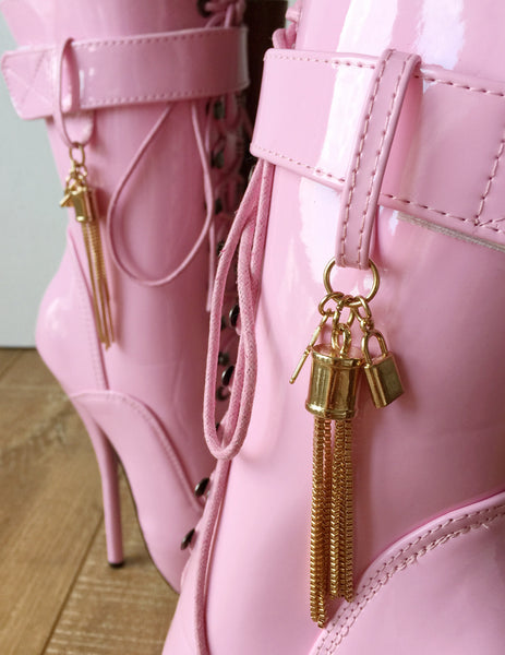 18cm Fetish Ballet Calf Boot Gold Metallic Tassel Charm Burlesque Patent Pink